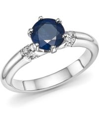 Roberto Coin | Platinum Solitaire Sapphire And Diamond Ring | Lyst