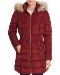 Laundry by Shelli Segal - Windbreaker Faux Fur Trim Cinched Waist Puffer Coat - Lyst