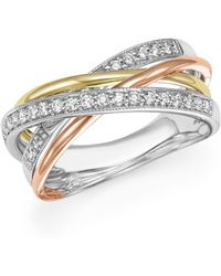 Bloomingdale's - Diamond Crossover Statement Ring In 14k Gold, .30 Ct. T.w. - Lyst