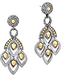 "John Hardy - ""naga"" Gold And Silver Chandelier Earrings - Lyst"