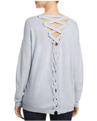 Aqua - Cashmere Lace Up Back Sweater - Lyst
