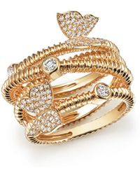 Bloomingdale's - Diamond Beaded Ring With Butterflies In 14k Yellow Gold, .50 Ct. T.w. - Lyst