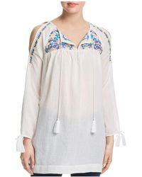 Aqua | Embroidered Cold-shoulder Tunic | Lyst