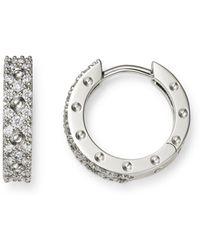 Roberto Coin - 18k White Gold Symphony Pois Moi Diamond Small Hoop Earrings - Lyst