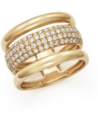 Bloomingdale's - Diamond Three Row Band In 14k Yellow Gold, .75 Ct. T.w. - Lyst
