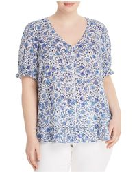Lucky Brand - Ruffle-trim Floral-print Top - Lyst