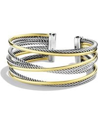 David Yurman - 'crossover' Four-row Cuff With Gold - Lyst