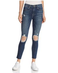 FRAME - Le High Skinny Crop Raw Edge Slit Rivet Jeans In Pelgrove - Lyst