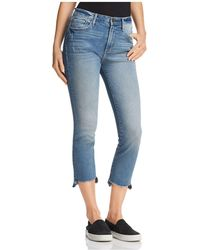 Aqua - Cropped Step-hem Jeans In Medium Indigo - Lyst