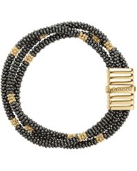 Lagos - Gold & Black Caviar Collection 18k Gold & Ceramic Beaded Multi-strand Bracelet - Lyst