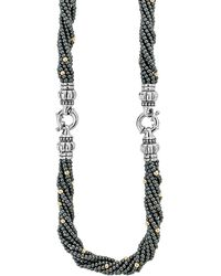 Lagos - 18k Gold And Sterling Silver Caviar Icon Hematite Beaded Multi Strand Convertible Bracelet And Necklace - Lyst