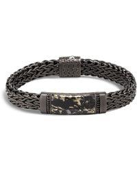 John Hardy - Sterling Silver Classic Chain Apache Gold & Black Sapphire Wide Flat Chain Station Bracelet - Lyst