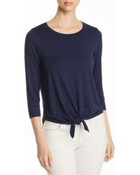 Three Dots - Tie-front Jersey Top - Lyst