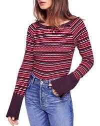 Free People - Donna Striped Rib-knit Tee - Lyst