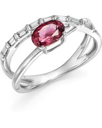 Bloomingdale's - Pink Tourmaline & Diamond Crossover Ring In 14k White Gold - Lyst