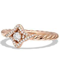 David Yurman - Venetian Quatrefoil Ring With Diamonds In 18k Rose Gold - Lyst