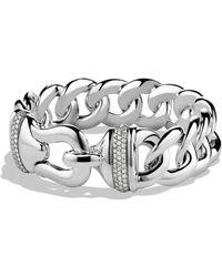 David Yurman - Buckle Single-row Bracelet With Diamonds - Lyst