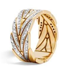 John Hardy Modern Chain 18k Gold & Diamond Band Ring