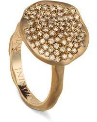 Antonini - 18k Rose Gold Round Anniversary Pavé Champagne Diamond Ring - Lyst