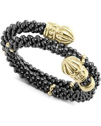Lagos - Gold & Black Caviar Collection 18k Gold & Ceramic Wrap Ring - Lyst