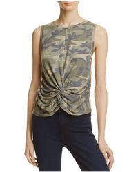 Aqua - Camouflage Twisted-front Tank - Lyst