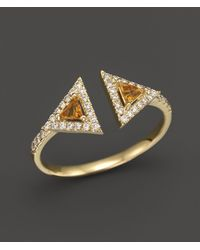Bloomingdale's - Citrine And Diamond Geometric Ring In 14k Yellow Gold - Lyst