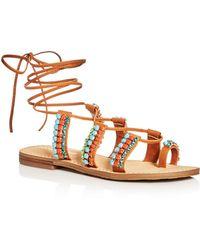 Ivanka Trump - Monday Embellished Lace Up Sandals - Lyst