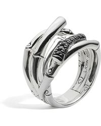 John Hardy - Women's Sterling Silver Bamboo Lava Wide Ring With Black Sapphires - Lyst