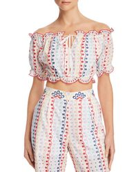 Red Carter - Scalloped Eyelet Cropped Top - Lyst