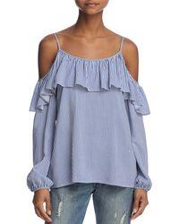 Aqua - Ruffled Striped Cold-shoulder Top - Lyst