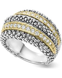 Lagos - Sterling Silver And 18k Gold Diamond Caviar Ring - Lyst