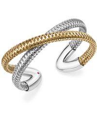 Roberto Coin | 18k White And Yellow Gold Primavera Cross Cuff Bracelet | Lyst