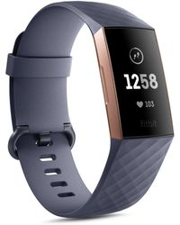 Fitbit - Charge 3 Unisex Blue-gray Elastomer Band Touchscreen Smart Watch 22.7mm - Lyst