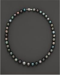 "Bloomingdale's - Natural Color Tahitian Pearl And 14k White Gold Strand Necklace, 18"" - Lyst"