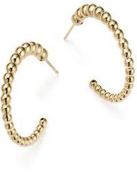 Bloomingdale's - 14k Yellow Gold Graduated Bead Hoop Earrings - Lyst