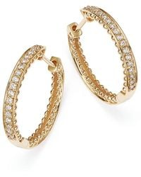 Bloomingdale's - Diamond Beaded Edge Hoop Earrings In 14k Yellow Gold, .20 Ct. T.w. - Lyst