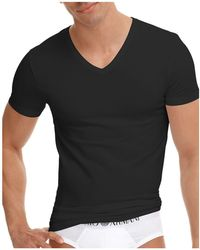 Emporio Armani - Stretch Cotton V-neck T-shirt - Lyst
