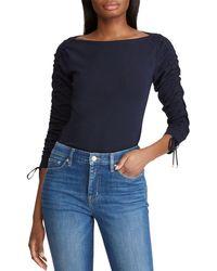 5278ee55e9e Lyst - Ralph Lauren Lauren Plus Split Neck Tunic in Blue