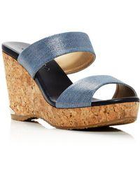 a10a81e1102 Jimmy Choo - Women s Parker 100 Denim Cork Wedge Slide Sandals - Lyst