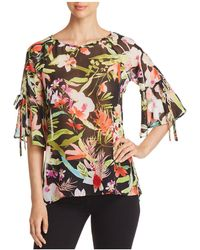 Status By Chenault - Floral Bell-sleeve Top - Lyst