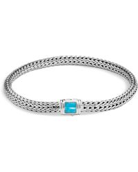 John Hardy - Sterling Silver Classic Chain Extra Small Bracelet With Turquoise - Lyst