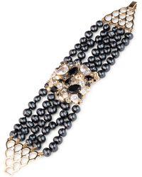 Carolee - Gold-tone Crystal, Stone & Freshwater Pearl (5-8mm) Multi-row Flex Bracelet - Lyst