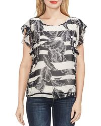 Vince Camuto - Tropical Stripe Flutter Sleeve Top - Lyst