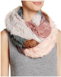 Jocelyn | Patchwork Long Hair Rabbit Knitted Infinity Scarf | Lyst