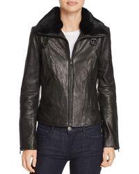 Andrew Marc - Cambridge Fur Trim Leather Jacket - Lyst