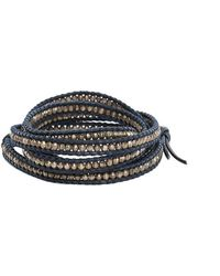 Chan Luu | Antique Silver Bead On Navy Leather | Lyst