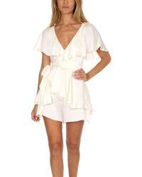 75e26949b57 Lyst - Zimmermann Roza Silk Veil Romper in White