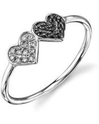 Sydney Evan - Pavé Diamond Double Heart Ring - Lyst