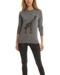 Markus Lupfer - Giraffe Love Embroidered Natalie Sweater Grey - Lyst