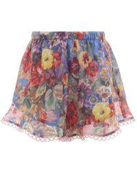 Zimmermann - Lovelorn Floral Shorts - Lyst